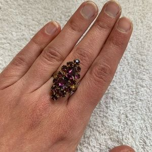 Vintage costume ring amethyst long